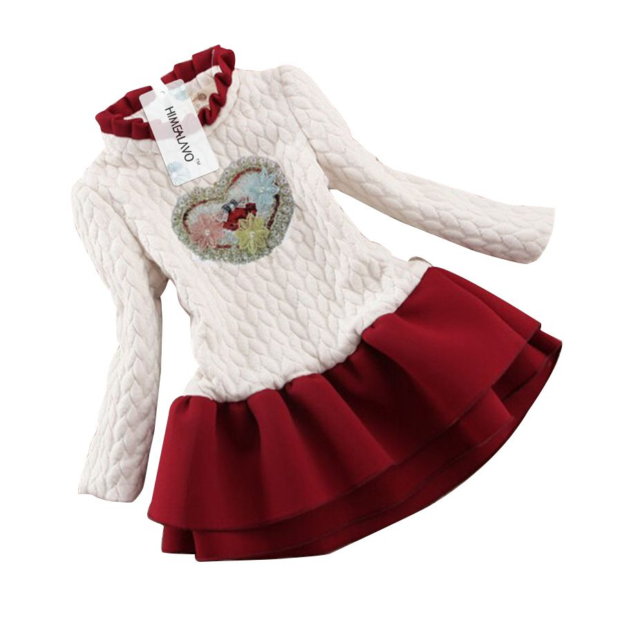 2018 Winter Kids baby girls Clothes Dreess Children Plus Velvet Warm Knitted Sweater Tutu Dress For Girl Princess Dress girls dress winter 2016 new children clothing girls long sleeved dress 2 piece knitted dress kids tutu dress for girls costumes