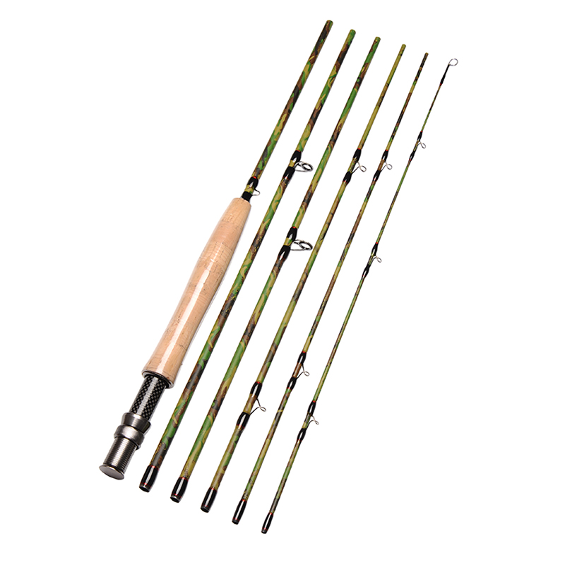 Fly Fishing Rod 6 Sections 2.7m/9ft IM7 Carbon 5/6# Saltwater Freshwater Fly Rod Portable Fast Action Camouflage Fishing pole yibuy 1 set of 4 string sealed pickups for jb bass guitar