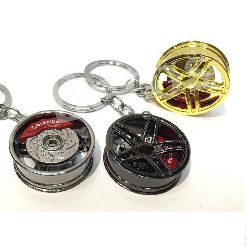 1pc Car wheel keychain key ring Alloy with Brake discs Auto Part Model Car Keyring turbo keychain 50 years perpetual calendar keyring keychain silver alloy key ring keyfob decoration 8ou9