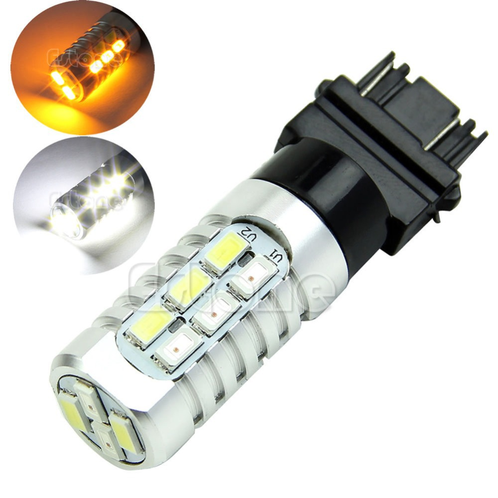 50W 3157 Dual Color 5630 Yellow White LED Switchback Turn Signal Lamp Light Bulbs 2x dual color switchback 3157 20 smd 5730 led bulbs turn signal light high power