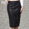 Faldas de piel de serpiente de cuero genuino de las mujeres DEL estilo OL negro delgado partido lápiz falda faldas falda jupe saia etek 100% piel de cordero LT805