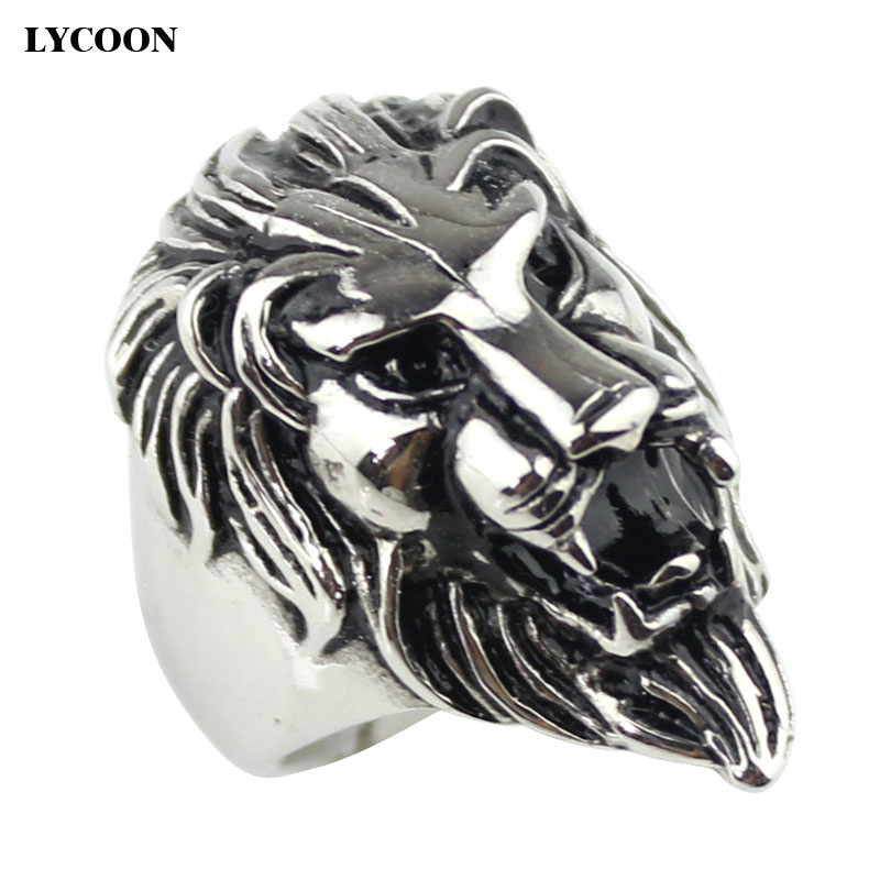 LYCOON Fashion punk ring men jewelry stainless steel casting ring in lion style and plated yellow gold big male rings