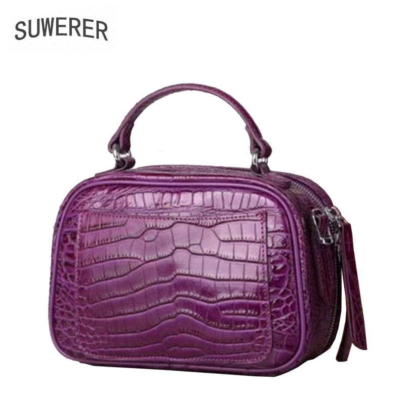 SUWERER2018 new 100% high quality luxury fashion luxury leather crocodile pattern shoulder bag brand name products luxury 100