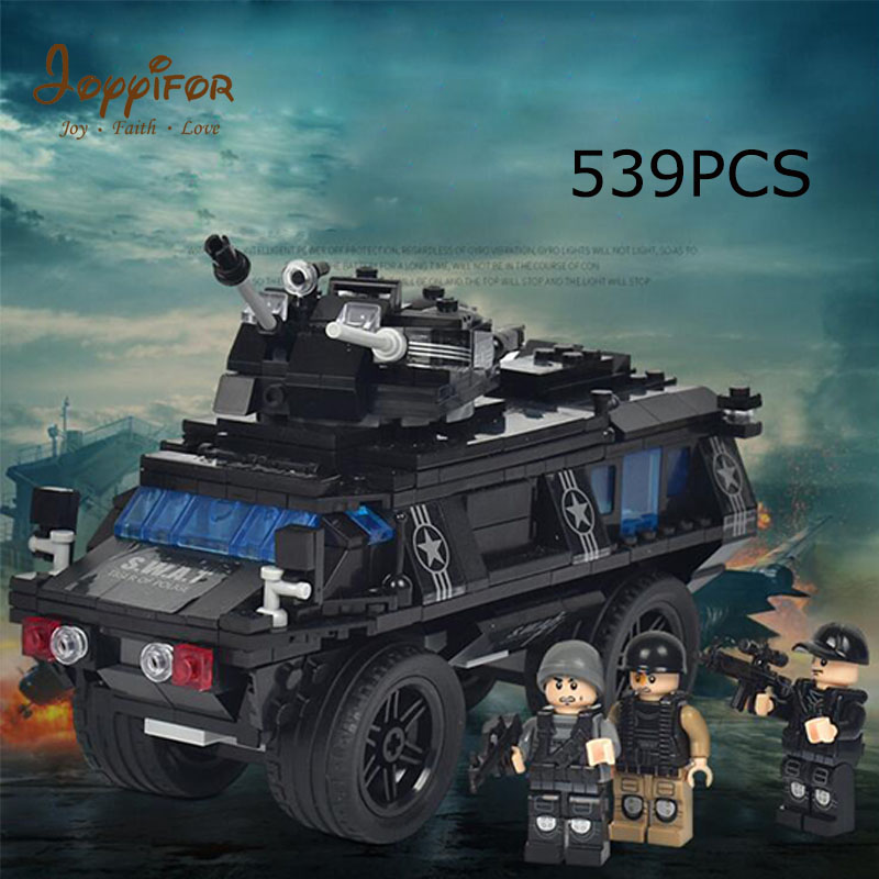 Joyyifor New City Police Swat Car Fit LegoINGlys Police Figures Model Building Block Bricks Kids Educational DIY Toys Gift Kids 407pcs sets city police station building blocks bricks educational boys diy toys birthday brinquedos christmas gift toy