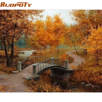RUOPOTY フレーム秋の風景 Diy の塗装 Provenc 壁の芸術の装飾手塗り家の装飾アートワーク 40 × 50 センチメートル