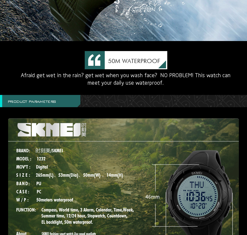 9f42b9c5381 SKMEI Men Digital Watch Sport Man Clock Watches Waterproof Compass ...