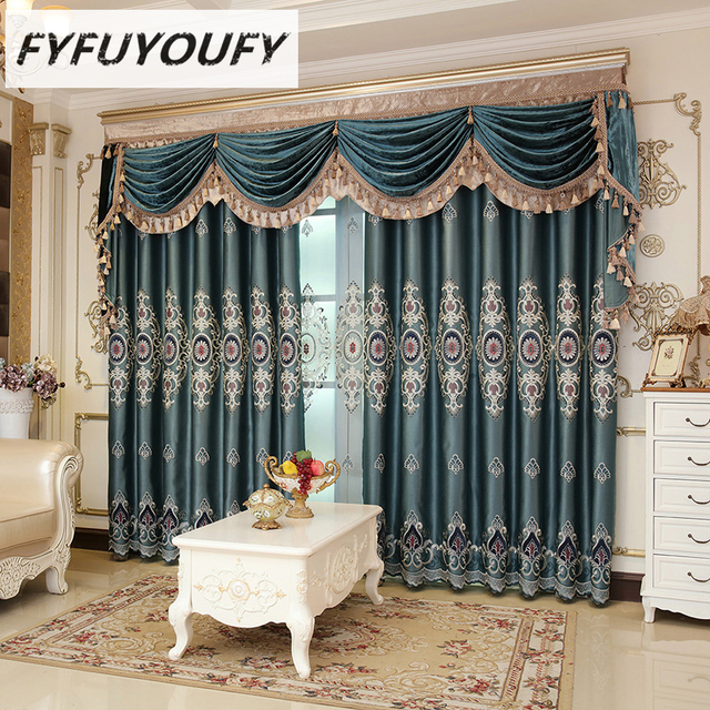 Curtain Luxury Europe Style Curtains With Valance Jacquard Curtains For  Living Room Modern Window Curtain For
