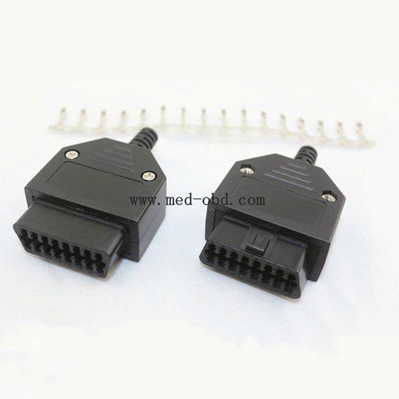 50 шт. собраны OBD2 разъем с корпусом и кабель натяжения 16pin J1962f штепсельная розетка