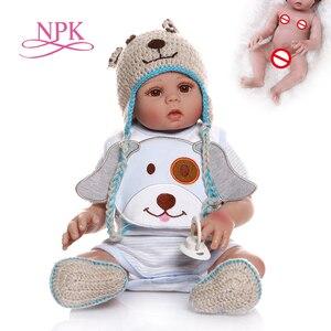 NPK 48CM bebe doll reborn baby boy doll in blue dress full body soft silicone realistic baby Bath toy Anatomically Correct(China)