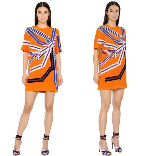 Neue damenmode zeigen schöne druck kurzarm elastischer strick slim dress plus größe-in Kleider aus Damenbekleidung bei  Gruppe 1