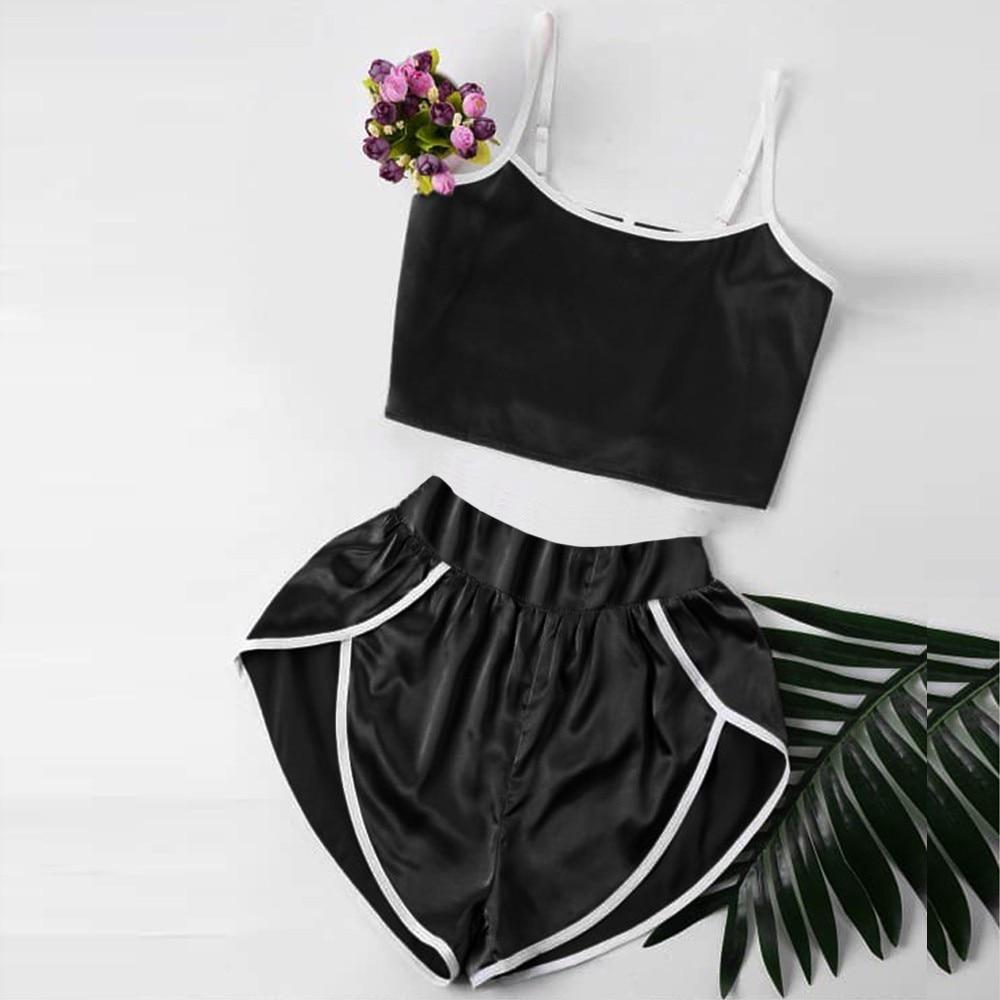 Sexy Fashion Women   Pajamas     Sets   Cute Sexy Lingerie Girl Black Sleepwear Sports   pajamas   Loose Shorts Casual underwear cp