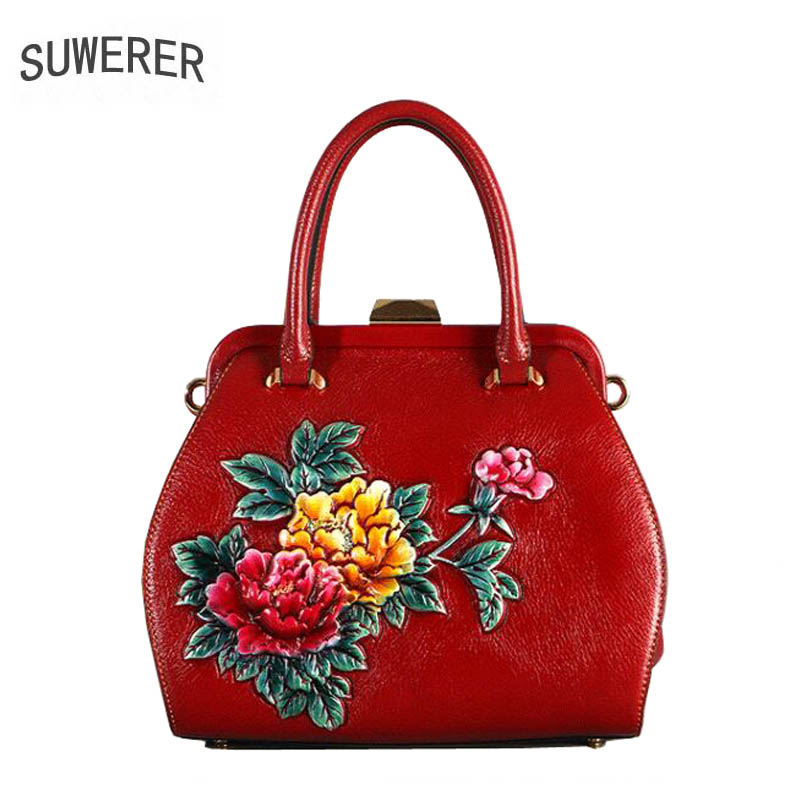 2018 New Women Genuine Leather bag luxury handbags top Cowhide women bag designer fashion Painted embossing women bags handbag 2016 new women genuine leather bag fashion chinese style top quality cowhide embossing women leather handbags shoulder bag