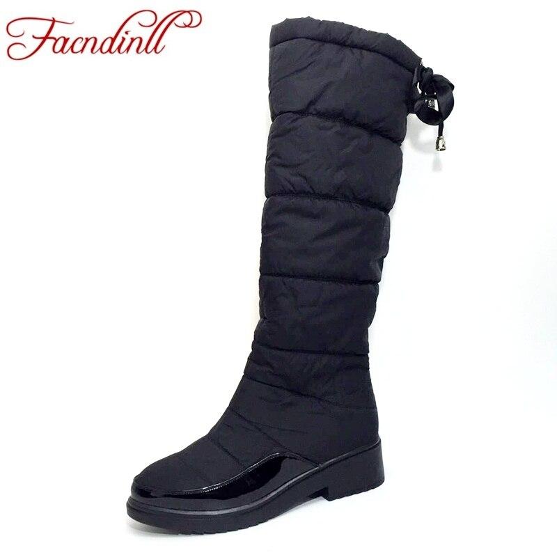 6dcf87e6e9a3 FACNDINLL winter warm down women waterproof shoes snow boots ladies fashion knee  high boots woman black casual thigh high boots
