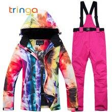 Женские комплекты для сноубординга, зимняя спортивная одежда, лыжные костюмы, женские дышащие водонепроницаемые ветрозащитные зимние куртки и брюки с поясом, костюм