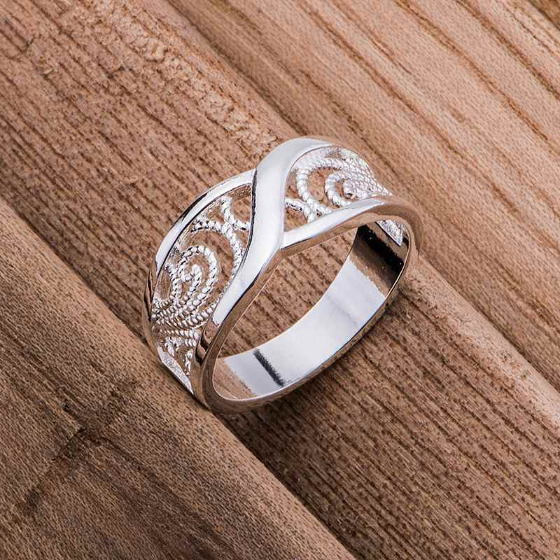 rounded hollow shiny Wholesale silver plated ring 925 Fashion jewelry Silver Ring 925sterling-silver HPIVIUOH