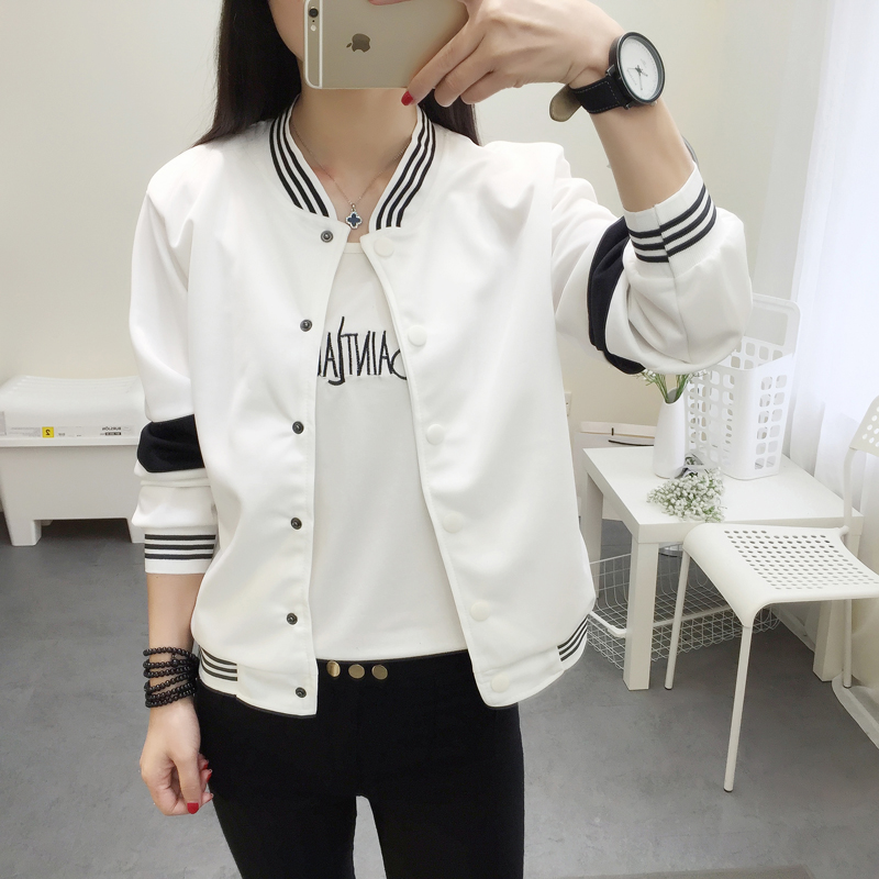 2018 Student Jacket New Spring Women Collar Cardigan Summer Jacket Casual Girl Student Senior High School Baseball Uniform