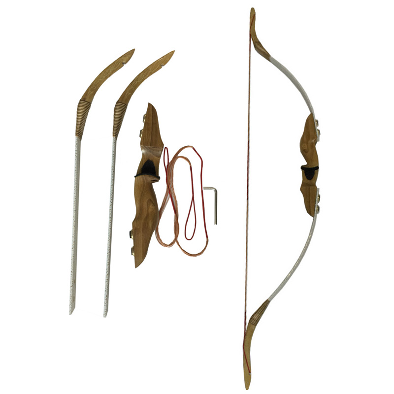 1pc Archery Traditional Bow Draw Weight 35lbs Recurve Longbow Takedown With Decorative Pattern