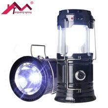 Портативный светодиодный солнечные фонари питание складной USB Перезаряжаемые фонарик для наружного Фонари Кемпинг лампы