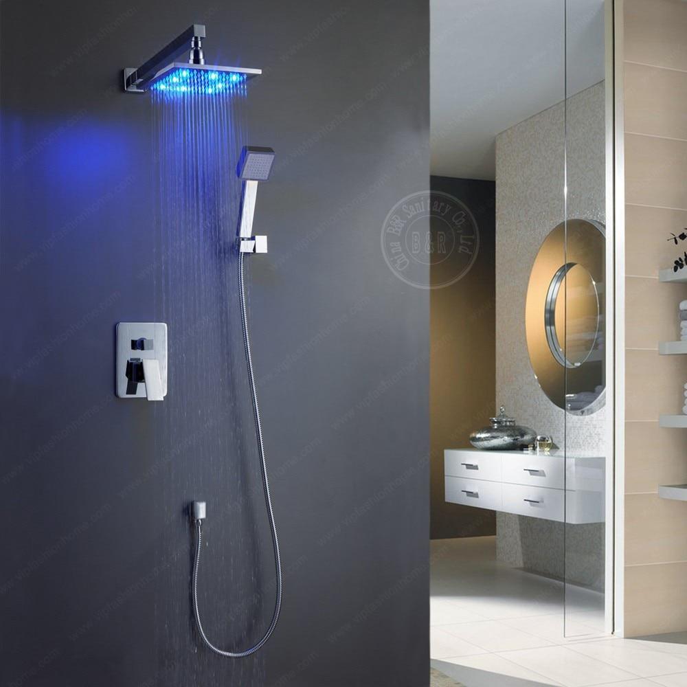 Livraison gratuite BECOLA LED de luxe droite 12 pouces en laiton salle de bain pomme de douche pluie avec bras de douche BR-LED 1212