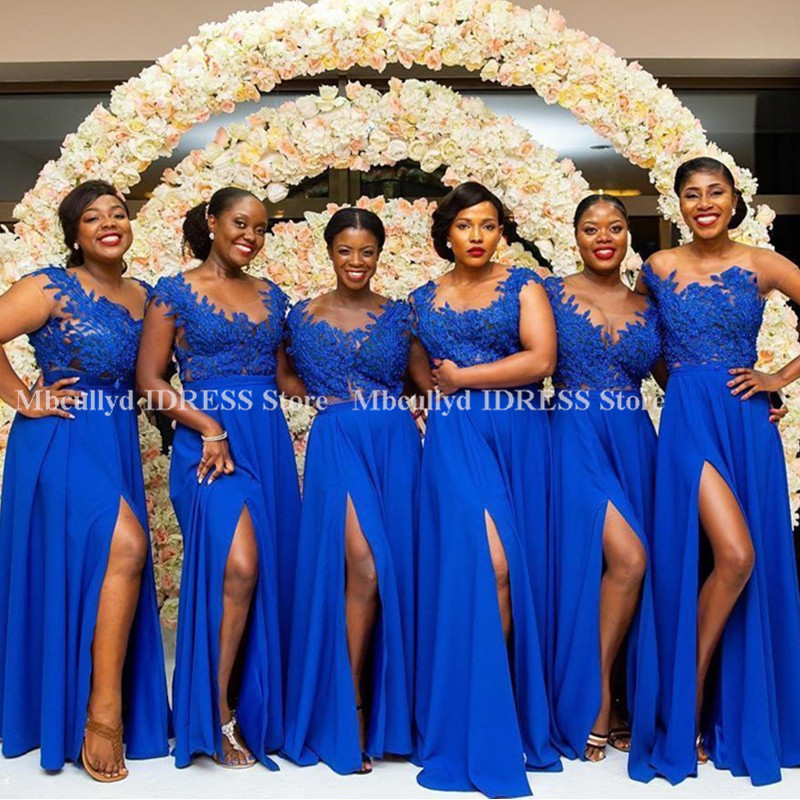 High Split Royal Blue   Bridesmaid     Dresses   2019 Long   Dress   for Wedding Party for Woman Chic Applique Lace Chiffon Vestido madrinha