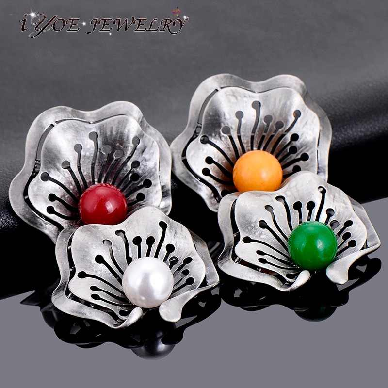 IYOE Black Metal Fashion Bouquet Brooch Pendant Accessories Colorful Imitation Pearl Pin Brooches Jewelry For Women And Men