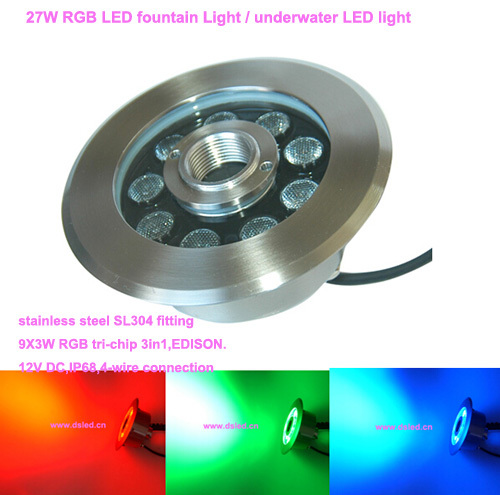 Free shipping by DHL!! CE,Stainless steel IP68 27W LED RGB fountain light,LED RGB pool light,DS-10-31-27W-RGB,12V DC 8mm 12mm 16mm cctv ir cs metal lens for cctv video cameras support cs mount 1 3 format f1 2 fixed iris manual focus