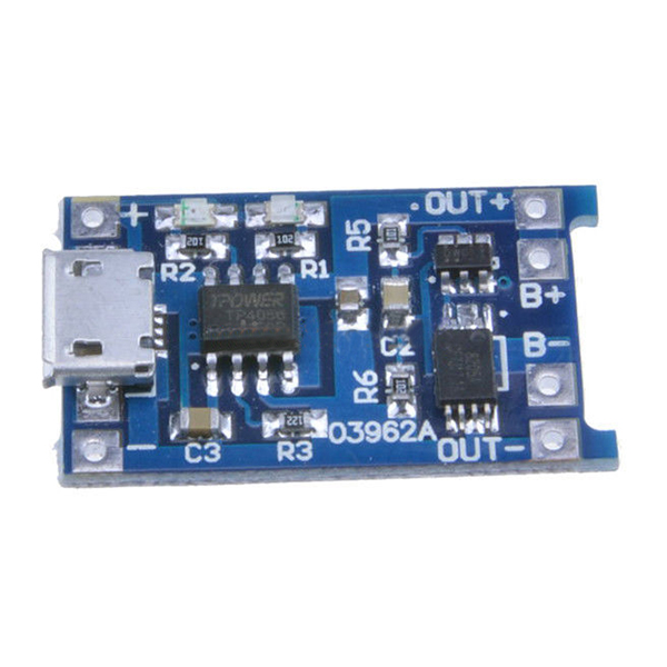 2PCS Blue 5V Micro USB 1A 18650 Lithium Battery Charging Board Converter Module Overdischarge Protection Power Charging Board qc2 0 fast charging lithium plate rise high mobile power upgrade board