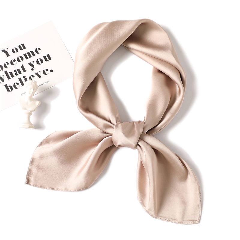 Silk Scarves Shawls Hijabs Kerchief-Foulard Square Solid-Color Smooth-Tie-Band Neck-Head