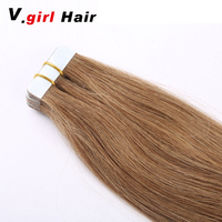 40g per Set 18inch Tape Hair Extensions Remy Straight Human Hair color 4 14 613 red PU Skin Weft Tape Extensions