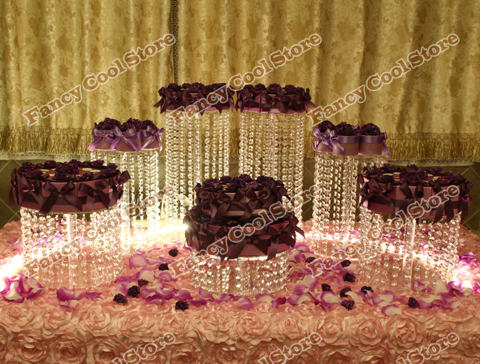 7pcs/Lot wedding crystal transparent acrylic Cake Stand wedding - Kitchen, Dining and Bar