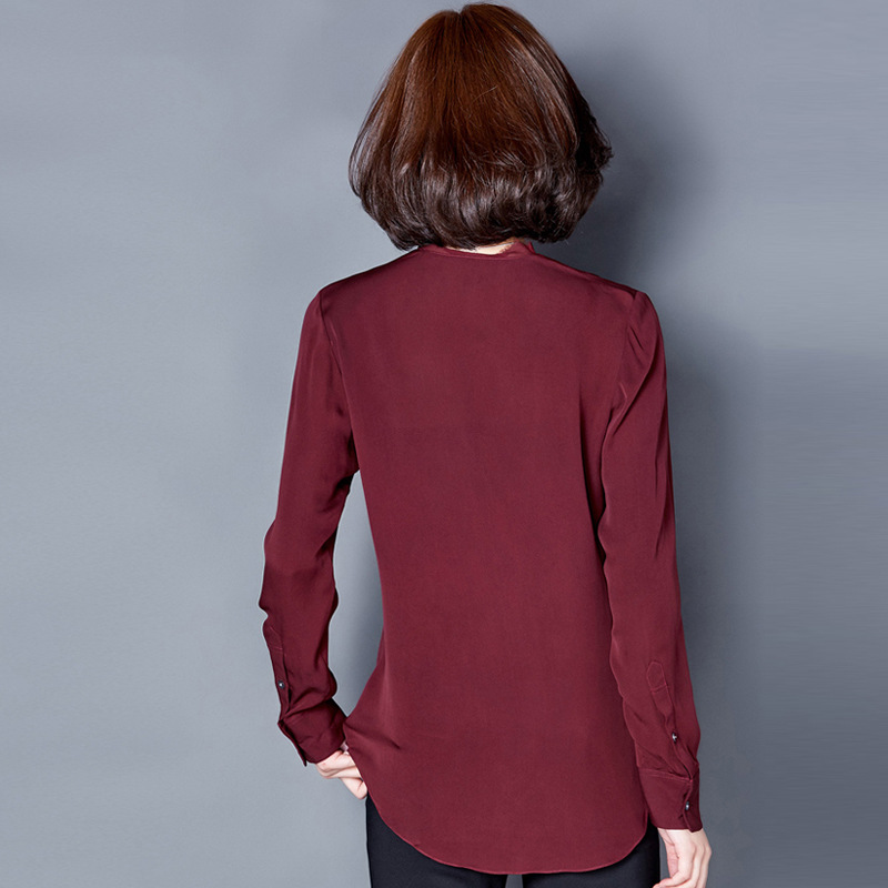 Camisas Grey Tela Mujer De 02 Natural Green Dark Crepe Blusas Gasa Seda Winered 100 Mujeres 01 Uq0gz