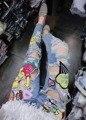 AQ201 Patricio Estrella de Dibujos Animados de Las Mujeres Europeas Pantalones Agujeros de Dibujos Animados de Mezclilla pantalones Vaqueros de La Calle de Las Mujeres