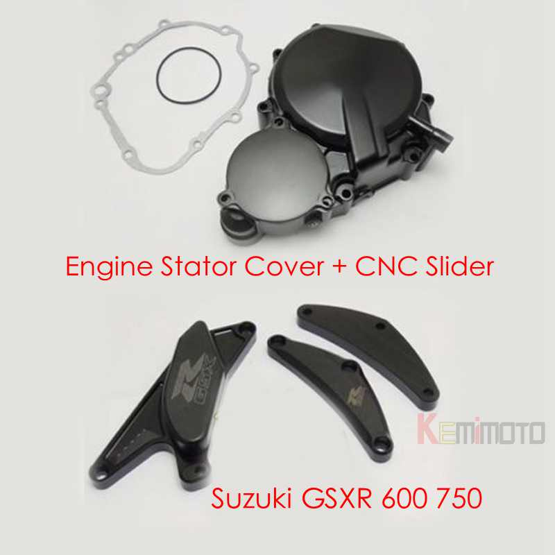 Engine Stator Cover with CNC Slider for Suzuki GSXR 600 750 2006 2007 2008 2009 2010 2011 2012 2013 2014 2015 After market aftermarket free shipping motorcycle part engine stator cover for suzuki gsxr600 750 2006 2007 2008 2009 2013 black left side