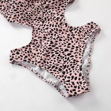 Women Sexy Leopard Printed One Piece Bikini Deep V-Neck Spaghetti Straps Monokini Hollow Out Cut Off Waist Backless Swimsuit Hig navy spaghetti cut out bikini sets
