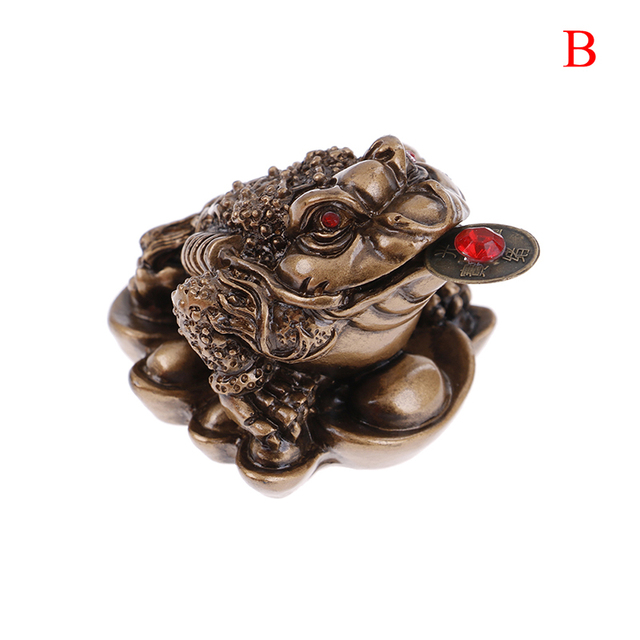 1PCS Lucky Gift Wealth Chinese Feng Shui Money Frog Toad Coin Ornaments For Frog Toad Coin Home Office Decoration Ornaments 6