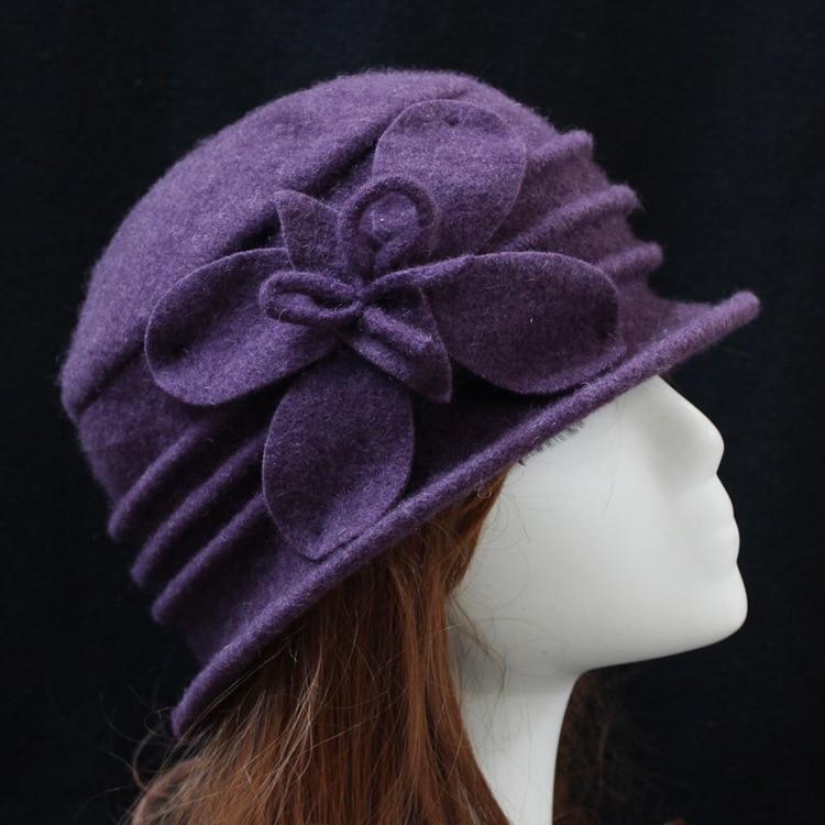 100% Pure Wool Autumn Soft Bucket Hat For WOmen Warm Winter Flower Knitting Wool Felt Beanies Cap Ladies  Navy Grey Purple fashionable fulled handwritten letters pattern felt bucket hat for men