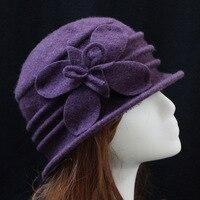 100% Saf Yün Sonbahar Yumuşak Kova Şapka Kadınlar Için Sıcak kış Çiçek Örgü Yün Keçe Kasketleri Cap Bayanlar Donanma Gri mor