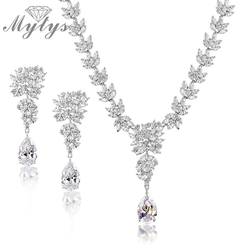 Mytys High Quality Crystal Jewelry Sets Clear Stunning White Crystal Leaf Design Necklace and Drop Earrings Sets CN110 недорго, оригинальная цена