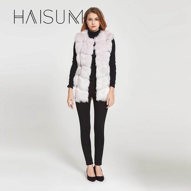 Haisum Yüksek kalite Kürk Yelek ceket Lüks Faux Fox Sıcak Kadın - Bayan Giyimi - Fotoğraf 2