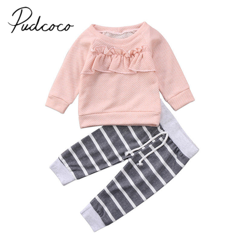 2017 Brand New Newborn Toddler Infant Child Kids Baby Girls Long Sleeve T Shirt Ruffled Tops Striped Pants 2Pcs Set Outfits 0-4T серьги