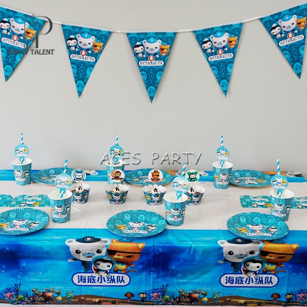 74 шт для детей до 12 лет, детская одежда Octonauts тематические праздничные товары для дня рождения набор посуды тарелка соломы Стекло приглашени...