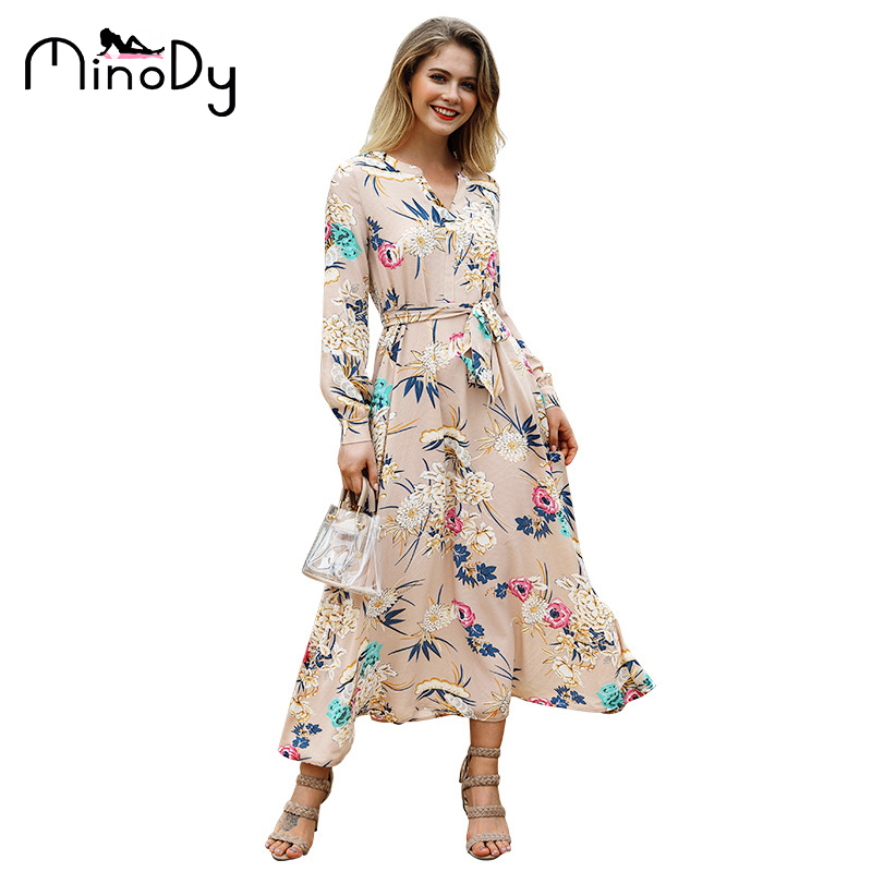 3c761b78cbd MINODY V-Neck Bohemian Dress Batwing Sleeve Ankle-Length Print A-Line  Dress. US  30.72. Fashion Simple Sweater Women ...