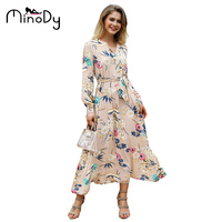MINODY V Neck Bohemian Dress Batwing Sleeve Ankle Length Print A Line Dress Sexy Long Beautiful Women Fasion Dress KW173095