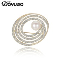 DOYUBO Classical Gold Color Silver Brooch Fashion Jewelry Lady Sterling Silver CZ Freshwater Pearl Brooch Wedding Jewelry VH002