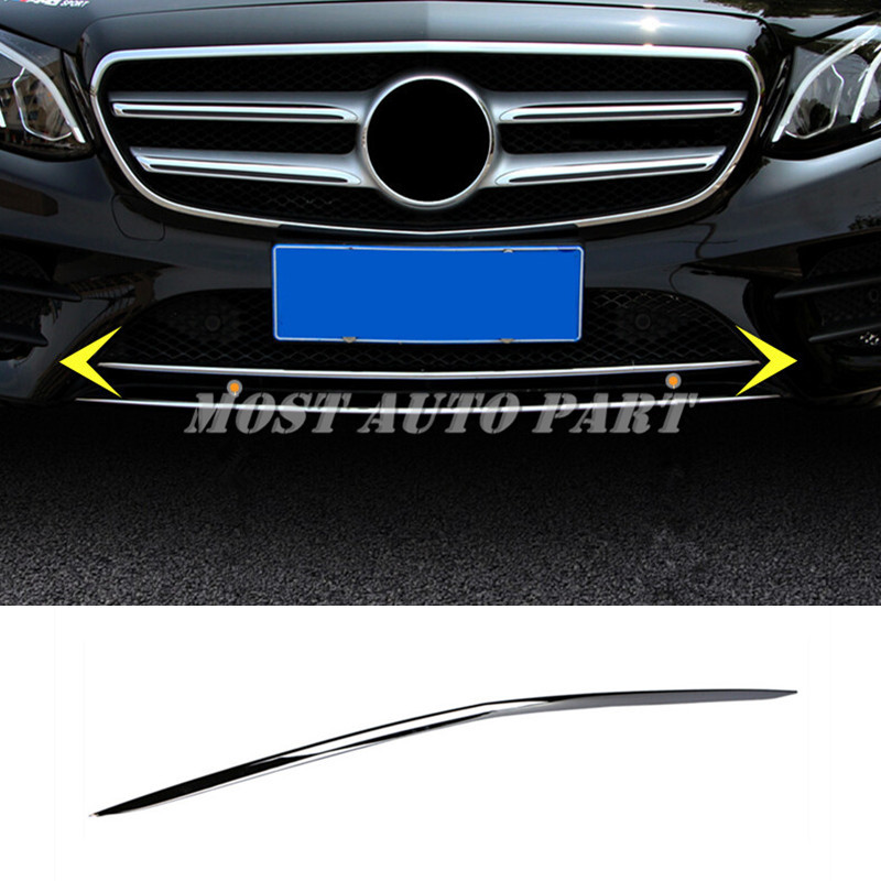Stainless Front Bottom Bumper Lid Molding Cover For Benz E Class W213 2017 2018