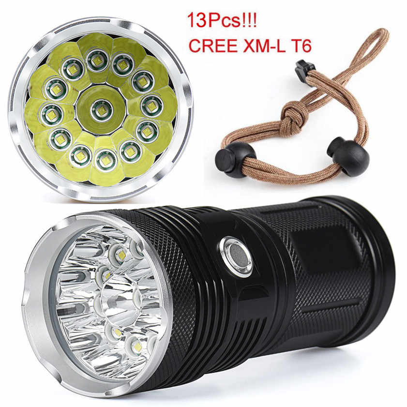 Yüksek Kaliteli 32000LM 13x CREE XM-L T6 LED el feneri Torch 4x18650 avcı ışığı Lambası