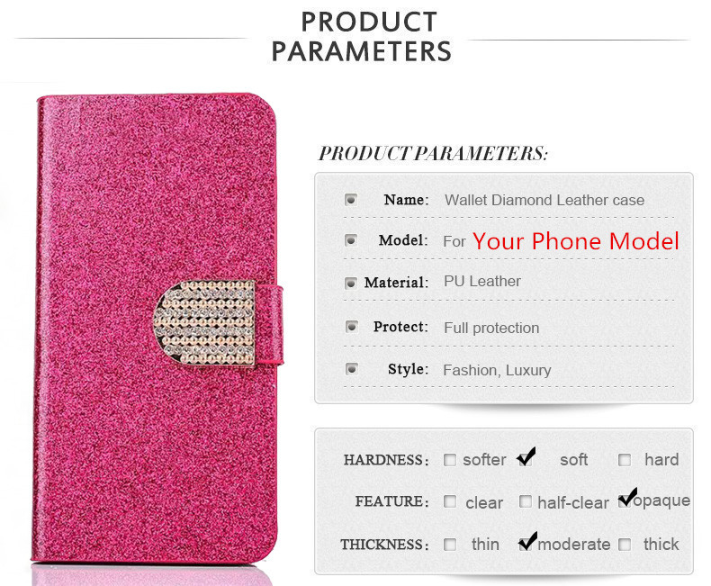 Luxury Bling Glitter Flip PU Leather Cover Case For Lenovo S850 S850T S 850 Full Protector Original Stand Shining Skin Cover