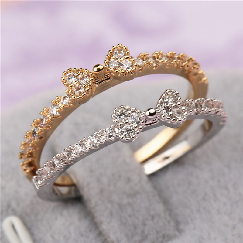 Fashion 3 Fine Jewelry Accessories Rhinestone Rings Delicate Cutout Bow Punk Gold Silver Color Wedding For Woman In Engagement From