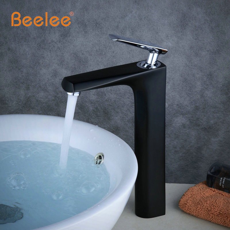 Beelee Free Shipping Elegant Golden With White Black Basin Faucet Bathroom Single Handle Tap  Washbasin Hot And Cold Mixer Tap