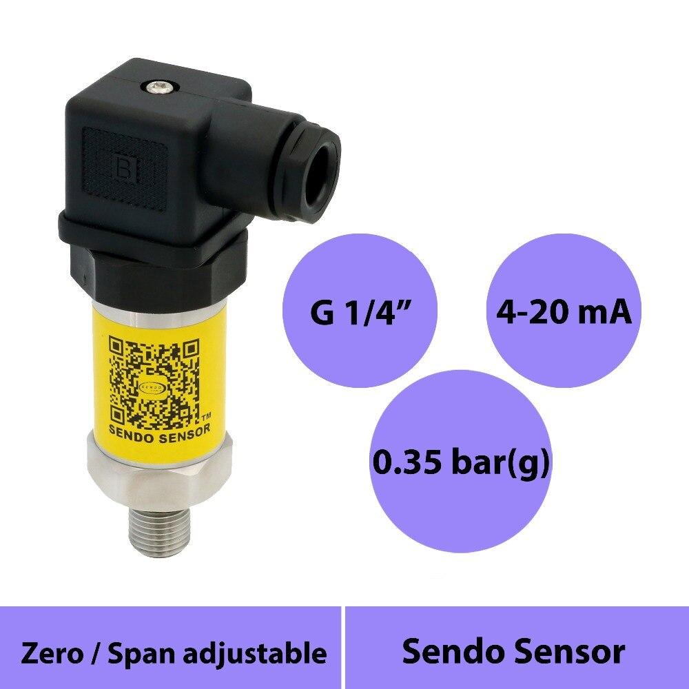 Capteur de pression 4 20mA, 0.35 bar, 5 psi transmetteur basse pression, 0 35 kpa, 350 mbar jauge ventilée, 12 v dc, g1 4 pouces ext